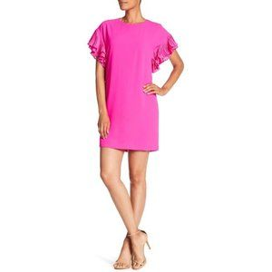 Cece Pink Sheath Dress w/ Pleated Ruffle Sleeves
